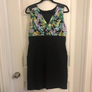 AGB Floral and Black Midi Dress with Pockets